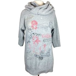 Desigual Sweatshirt Graffiti Dress Cowl Neck L